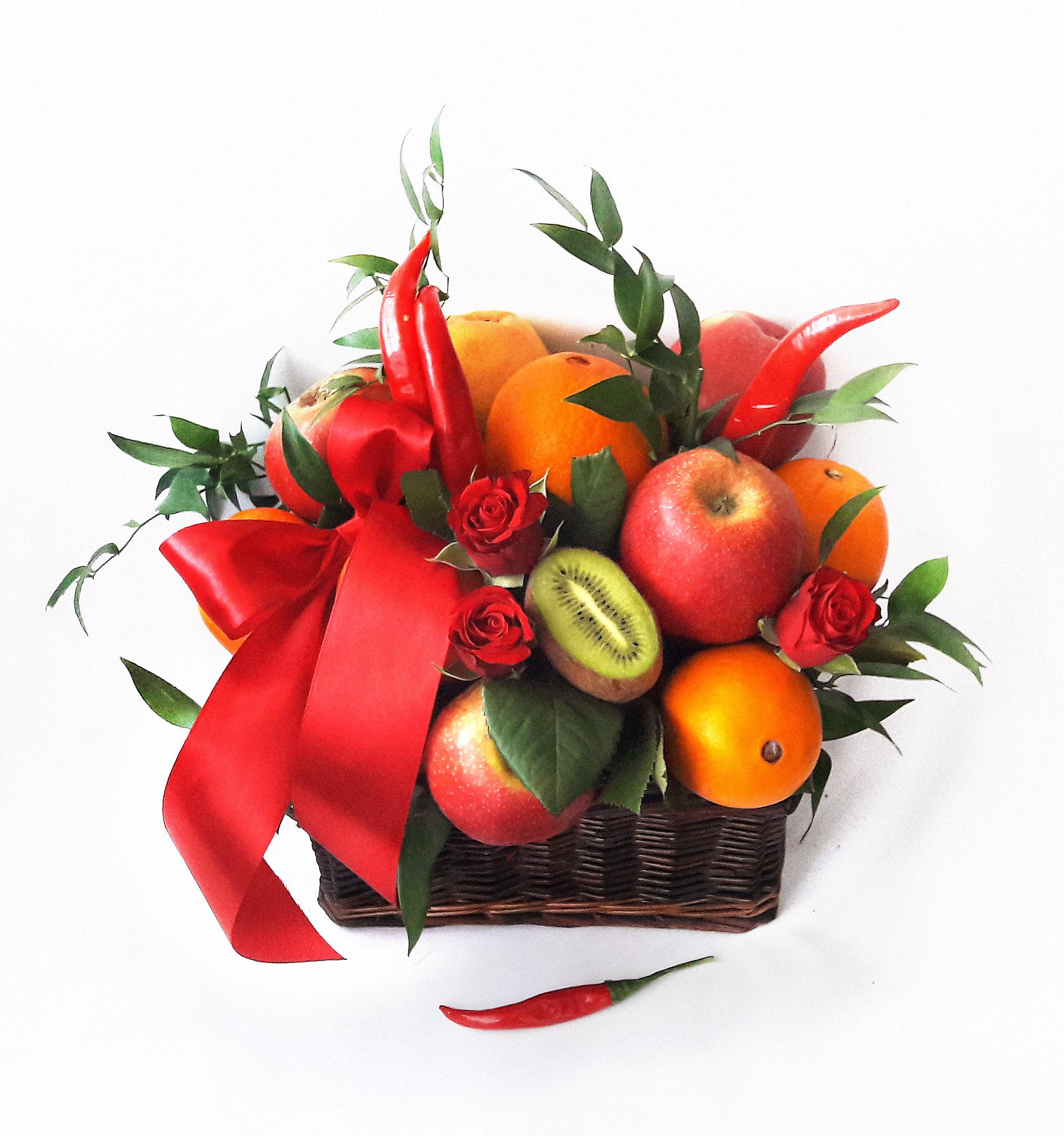Как сделать букет с фруктами и цветами 328