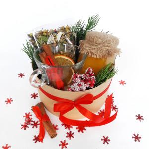 Подарочный набор с медом чаем, новогодний подарочный набор