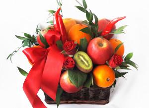 букет из фруктов и цветов, оригинальный букет, подарки на день рождения, подарок на 8 марта