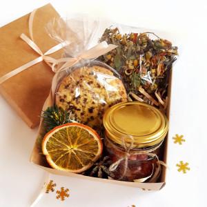 Подарочный набор с чаем и печеньем, новогодний подарочный набор